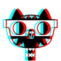 A gamerpic of a red, blue, and black cat