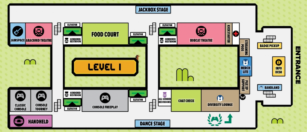 A map of the PAX East 2019 convention center
