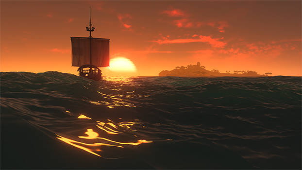 in-game-ship-sailing-into-sunset