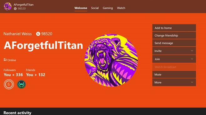 "An Xbox Live profile screenshot that features the Xbox Ambassadors profile badge underneath the Gamertag ""AForgetfulTitan""."