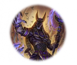 Image of the god anubis holding a staff with one raised hand