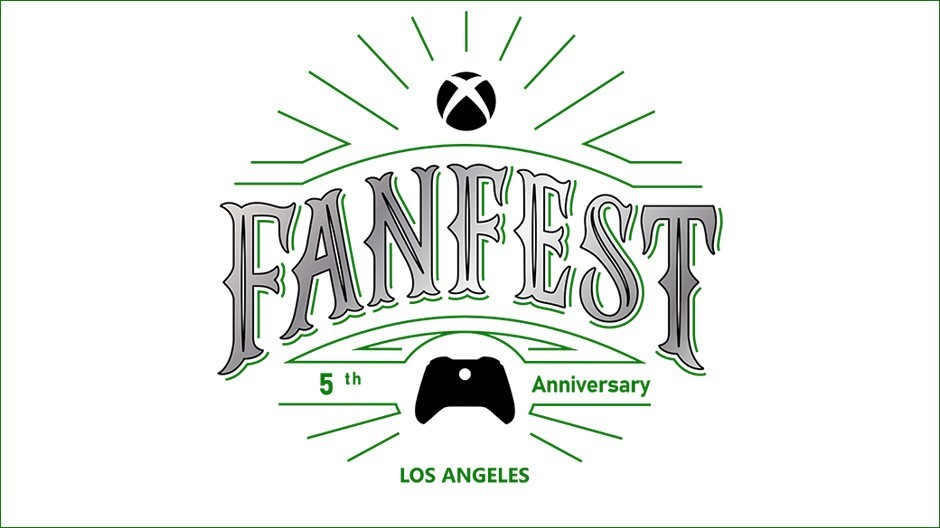 "Xbox FanFest logo on a white background, featuring the text ""5th anniversary"" and ""Los Angeles""."