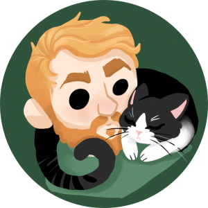 image of a man with blonde hair and a cat sleeping on his shoulder