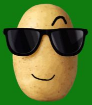 A sly potato looking cool with sunglasses on
