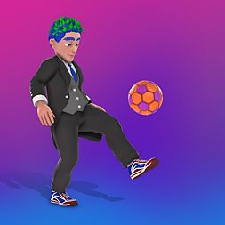 Maxen's Avatar wearing a suit and kicking a soccer ball.