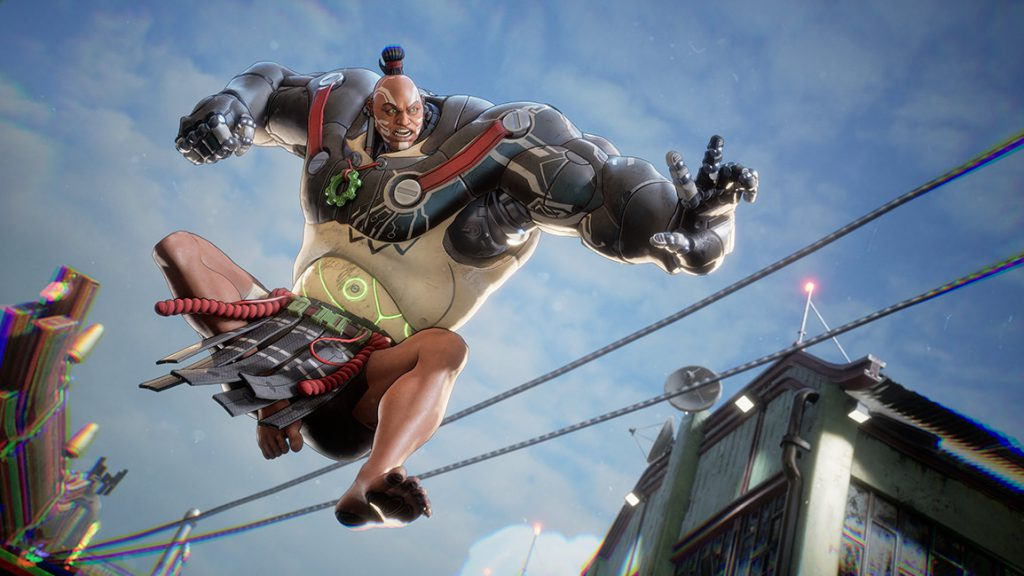 A bleeding edge character leaps into action, with the sky as a backdrop