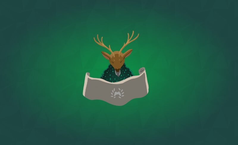 Humanoid deer with antlers and beard reading an Xbox Ambassador branded scroll