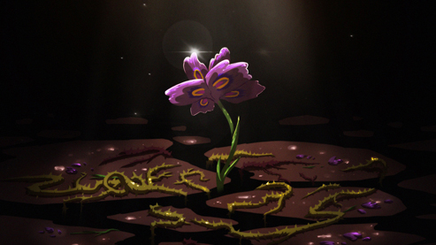 Cartoonized purple flower growing from thorns.