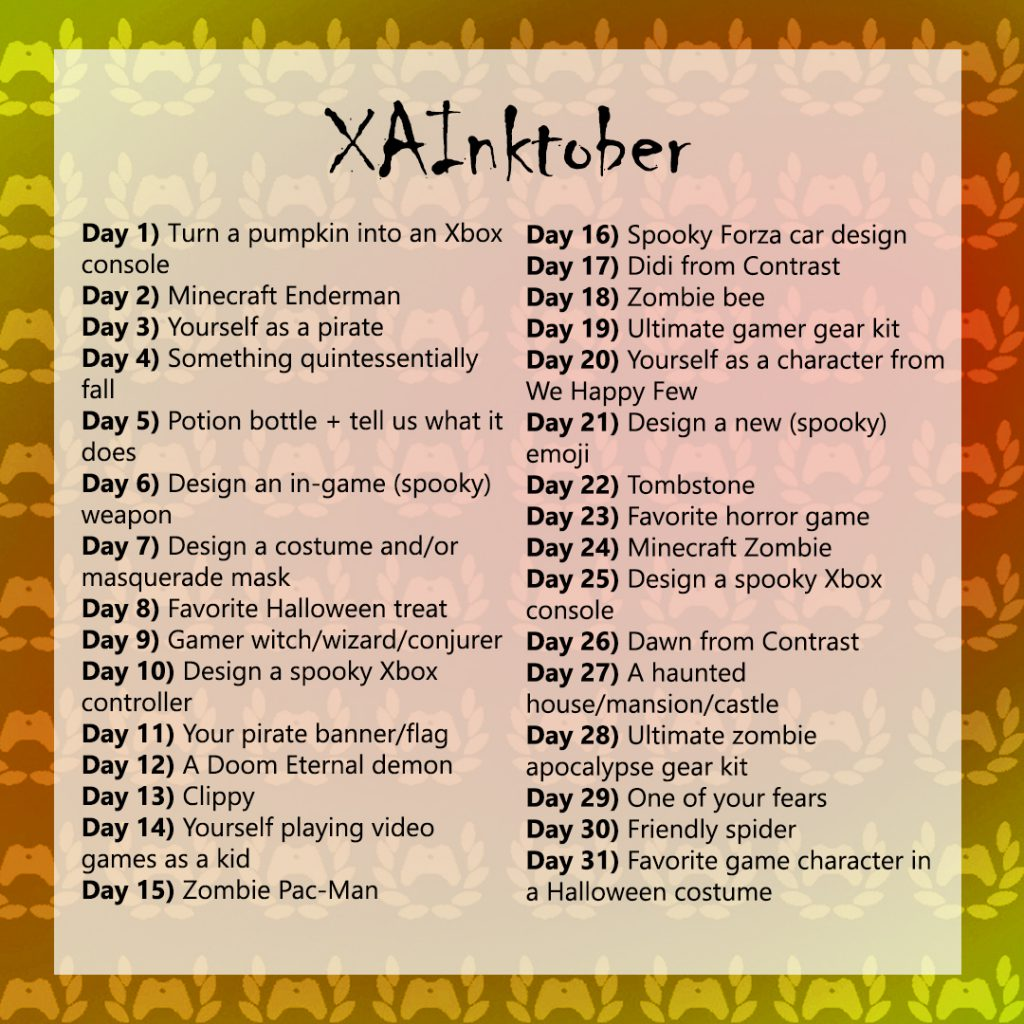 A list of the XA ink tober challenge.