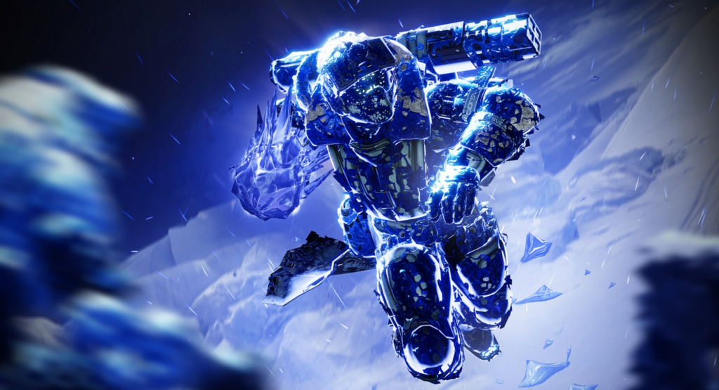 An ice-crusted Guardian runs towards the camera, with one fist coated in a spiky layer of ice and pulled back as though ready to punch the viewer